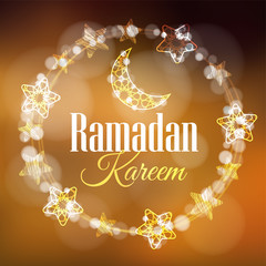 Ramadan Kareem greeting card, invitation with wreath made of light with decorative moons and stars. Golden festive blurred background.