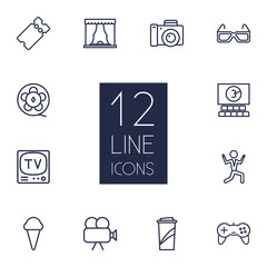 Set Of 12 Amusement Outline Icons Set.Collection Of Ticket, Theater, Tv Set And Other Elements.