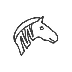 Isolted Zebra Outline Symbol On Clean Background. Vector Mammal Element In Trendy Style.