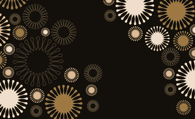 poster background with flowers floating in black and gold