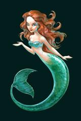 Hand drawn illustration of a mythological creature beautiful sea mermaid lady