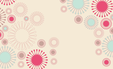 poster background with flowers floating in pink and blue