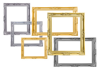 Pile of picture frames antique golden silver and black isolated on white background. Has clipping path.