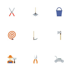 Flat Lawn Mower, Pruner, Rake And Other Vector Elements. Set Of Agriculture Flat Symbols Also Includes Scissors, Hose, Fruiter Objects.