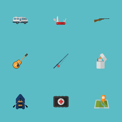 Flat Fishing, Weapon, Penknife And Other Vector Elements. Set Of Camp Flat Symbols Also Includes Chest, Rifle, Gun Objects.
