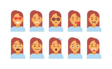 Profile Icon Female Different Emotion Set Avatar, Woman Cartoon Portrait Face Collection Vector Illustration