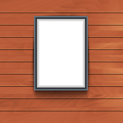 Vector frame on wooden wall background. Photo art decorative empty frame exhibition