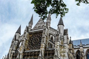 Beautiful view of the top of the famous Westminster Abbey