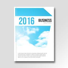 Vector business cover flyer design. Catalog illustration template. Booklet graphic sky design. Brochure or report template