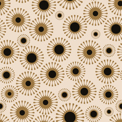 asian style floral seamless tile in black and gold