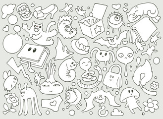 Abstarct funny cartoon doodle illustration with lots of different fantasy creatures
