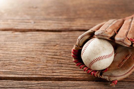 baseball on wooden desk