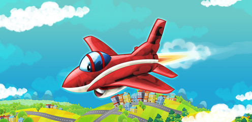 cartoon happy training jet fighter military machine