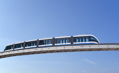 Monorail train against sky