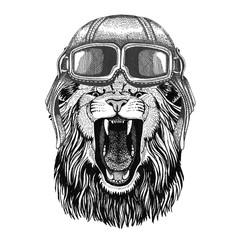 Lion wearing leather helmet Aviator, biker, motorcycle Hand drawn illustration for tattoo, emblem, badge, logo, patch