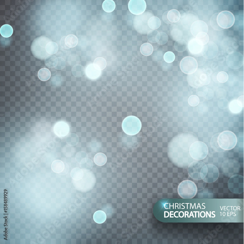 Christmas decorations on a transparent background  Light effect