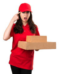 Delivery woman making crazy gesture