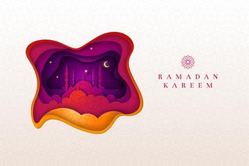 Islamic greeting card design for Ramadan Kareem.