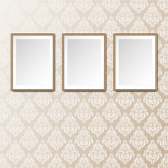 Gallery interior with 3 empty frames background. Vintage victorian pattern. Can be used as mock up. Blank canvas.