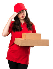 Frustrated delivery woman