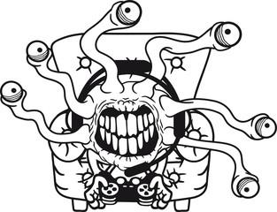 gamer zocken sessel konsole headset controller spielen nerd geek tentakel augen hässlich monster böse gefährlich gefräßig horror halloween grinsen