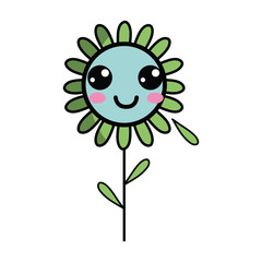 kawaii happy flower plant with leaves and petals