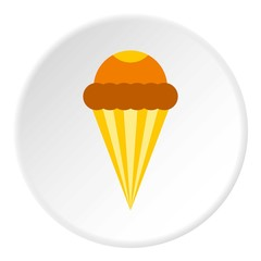 Ice cream cone with frosting icon, flat style
