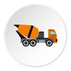 Truck mixer icon, flat style