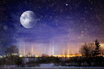 unusual moons in winter landscape