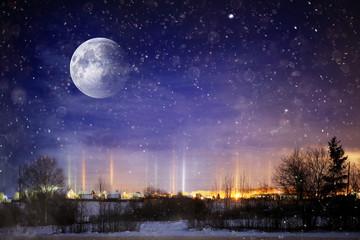 unusual moons in winter landscape