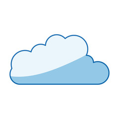 blue color shading silhouette cloud shape in cumulus icon vector illustration
