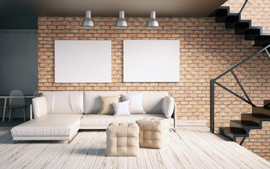Mock up poster in interior with stairs and sofa. living room hipster style. 3d illustration