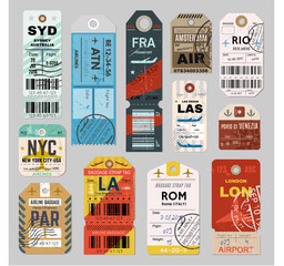 Baggage tag set on grey background