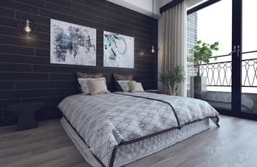 Scandinavian hipster bedroom interior
