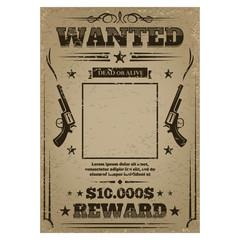 Wanted poster with rough texture