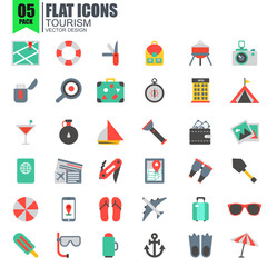 Simple set of tourism flat icons
