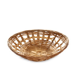 Bamboo basket isolated on white background