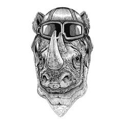 Rhinoceros, rhino wearing leather helmet Aviator, biker, motorcycle Hand drawn illustration for tattoo, emblem, badge, logo, patch