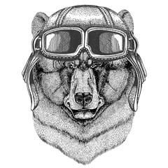 Brown bear Russian bear wearing leather helmet Aviator, biker, motorcycle Hand drawn illustration for tattoo, emblem, badge, logo, patch