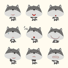 Set funny wolf in different poses. Collection isolated wolf in cartoon style for design children holiday or goods.