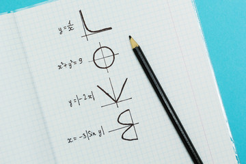 """The word """"Love"""" written by formulas and graphs of mathematical, concept."""
