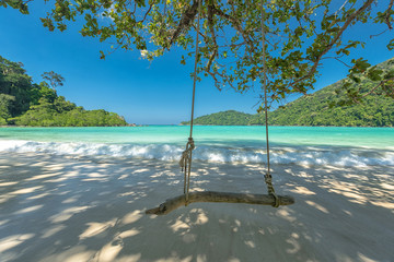 Wall Mural - Swing on tree at the beautiful tropical sea, Located  Surin island, Thailand