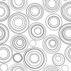 Doodle black and white circles seamless pattern, vector