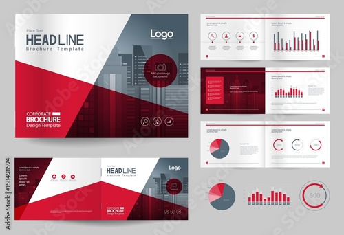 Business brochure design template and page layout for for Information technology company profile template