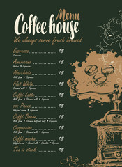 vector menu with price list, coffee grinder and inscriptions coffee house on the black background in retro style