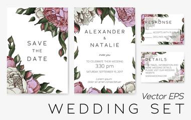 Vector set of wedding templates.