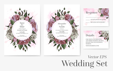 Vector set of wedding templates.