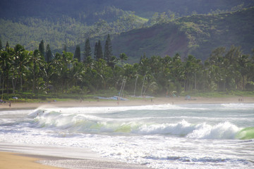 Beach life at Hanalei Bay on the Hawaiian Island of Kauai