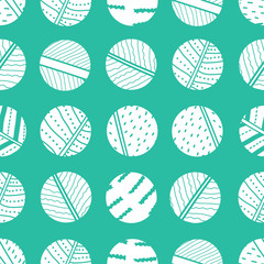 White polka dot on mint background. Vector seamless pattern.