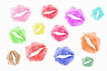 colorful lipstick kisses
